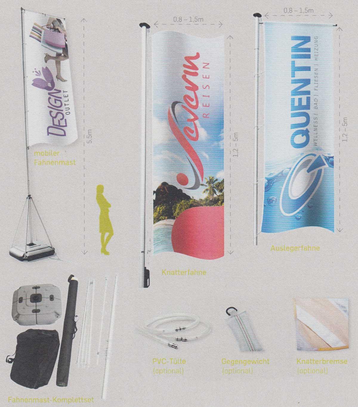 Beispiele Fahnen und mobiler Fahnenmast