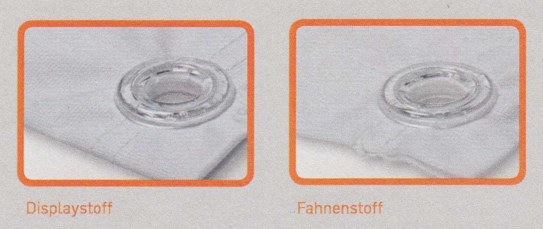 Detailansicht Displaystoff und Fahnenstoff